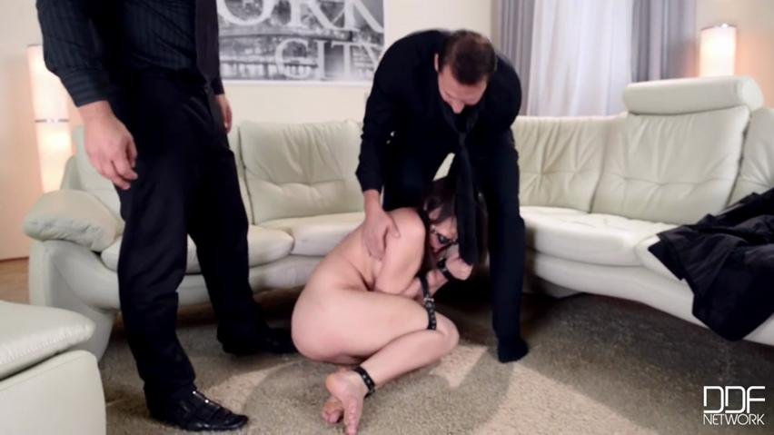 Compliant slave young lady Akasha Cullen gets throated and hit