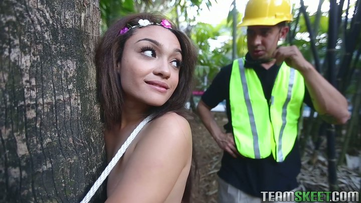 Intriguing adolescent with a phat goods Jaye Austin screws logger to save her gargen