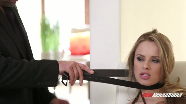 Sex slave Jillian Janson gets brutally throated by her mean dominantrix