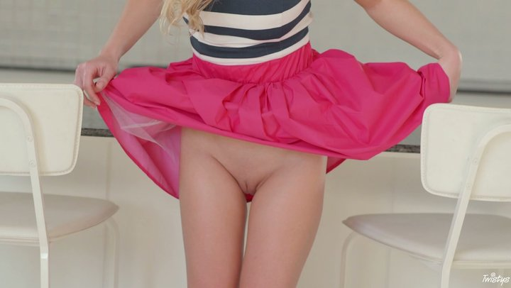 Sweet blonde newbie Candy strips down totally stripped